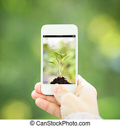 Woman hand holding smart phone against spring green...
