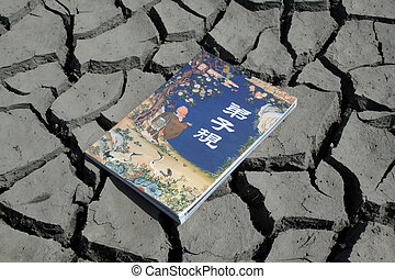 a book in the dry land - close up of a book in the dry land,...