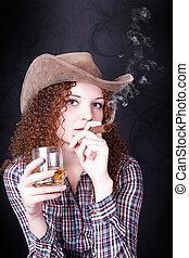 pretty girl smoking a cigar cowboy
