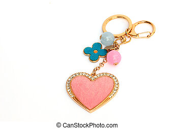 Valentine key ring isolated on white background