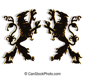 Griffins mythological creatures 3D - 3D Illustration of...