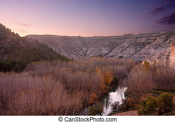 jucar river valley - a view of the jucar valley, from alcala...