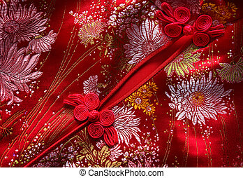 Cheongsam details - Traditional Chinese Red knot buttons on...