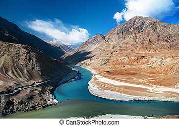 Zanskar and Indus rivers - Confluence of Zanskar and Indus...