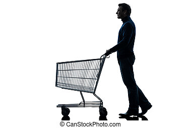 man with empty shopping cart silhouette - one caucasian man...