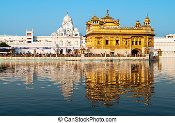 Daytime view of Golden Temple, Amritsar, Punjab state,...