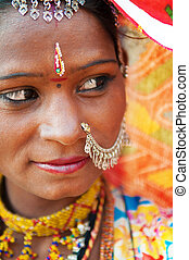 Traditional Indian woman looking away
