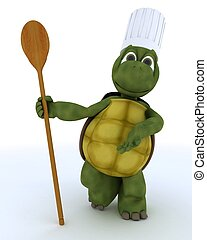 tortoise chef with wooden spoon - 3D render of a...