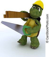 tortoise carpenter contractor - 3D render of a tortoise...