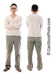 Southeast Asian Chinese male. Front and rear view of Asian...