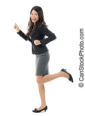 Business woman running Business concept image with full body...
