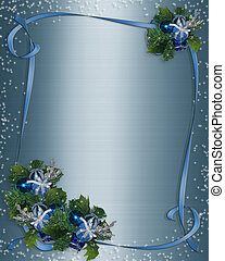 Christmas border Blue ribbons - 3 Dimensional illustration...