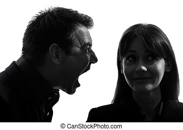 couple man screaming to a woman  silhouette