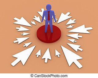 The arrows point to a businessman at the center Concept 3D...