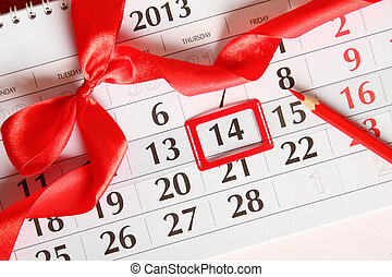 14th of February calendar - Calendar, day marked by February...