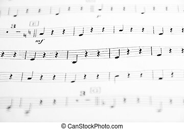 Sheet Music - Musical score of a work with the staff on hand...