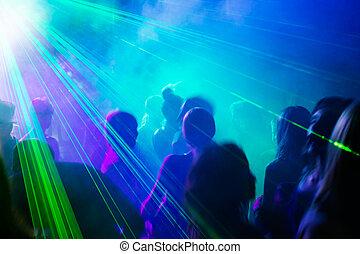 fiesta, gente, bailando, debajo, laser, luz