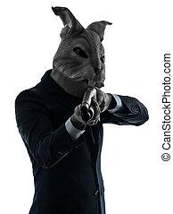 homem, coelho, máscara, caça, espingarda,...