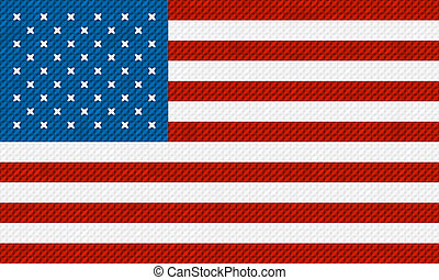 American flag background made with embroidery cross-stitch