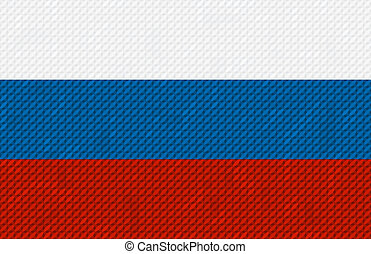 Russian flag background made with embroidery cross-stitch.