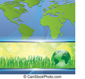 Green earth map environmental concept