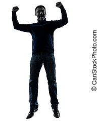 man jumping happy victorious silhouette full length - one...