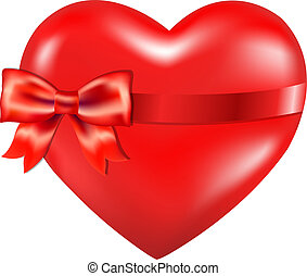 Red Heart With Red Bow, Isolated On White Background, With...
