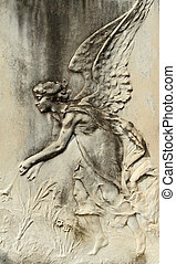 angelic bas-relief - antique angelic bas-relief