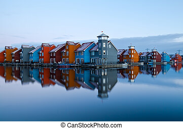 Reitdiep jachthaven before sunrise - colorful building in...