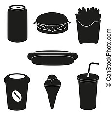 set icons of fast food black silhouette vector illustration...