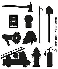 set icons of firefighting equipment black silhouette vector...