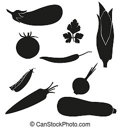 set of icons vegetables black silhouette vector illustration...