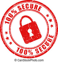 Vector secure stamp isolated on white