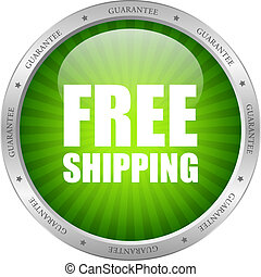 Vector green free shipping icon isolated on white