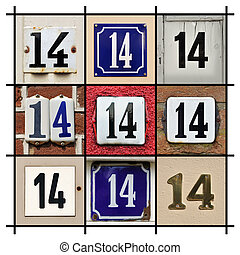 Numbers Fourteen - Collage of House Numbers Fourteen