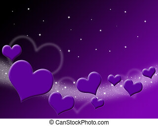 Valentines Day Card with purple Hearts and stars on starry...
