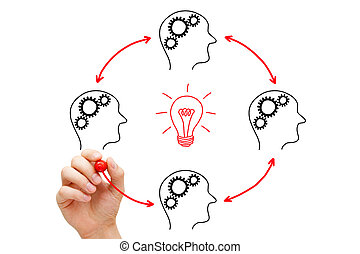 Teamwork Builds Big Idea - Teamworking on an idea. If...