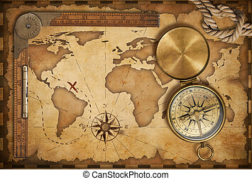 aged treasure map, ruler, rope and old brass compass with...
