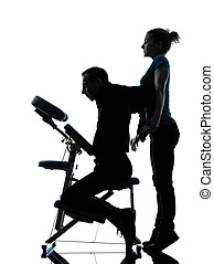back massage therapy with chair - one man and woman...