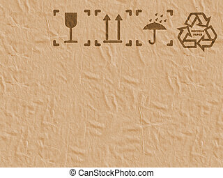 Safety Fragile Icon on Cardboard Paper. - Wrapping Paper...