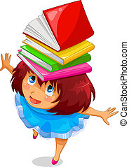 girl with books - girl with a pile of books on her head