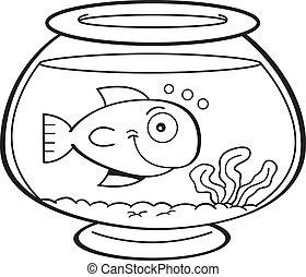 Cartoon fish in a fish bowl