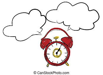 drawing red clock doodle