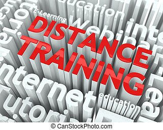 Distance Training Concept. Inscription of Red Color Located...