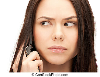 woman with cell phone - bright picture of woman with cell...