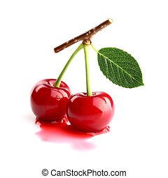 Ripe cherry with leaf