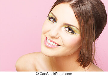 Young Woman On Pink Background - Smiling Young Woman On Pink...