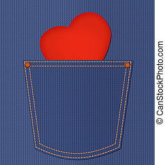Red heart card in jeans pocket. Happy valentine day...