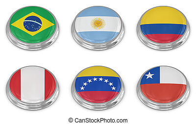 Nation flag icon set , computer generated image. 3d render.