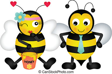 Adorable honey bees in love - Scalable vectorial image...